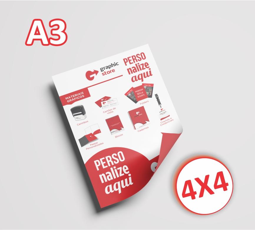 500 Panfletos/ folders - A3 - 42x29,7cm - 4x4 cores