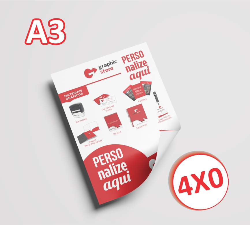 2000 Panfletos/folders - A3 - 29,7x42cm- 4x0 cores