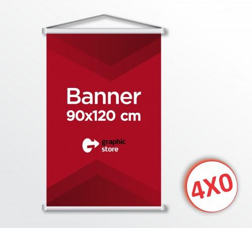 Banner Fosco 90x120 cm - com Acabamentos em Bastões e Corda