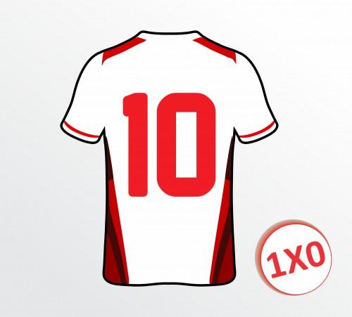 Camiseta de Futebol - Aplicação 02 Números -  1x0