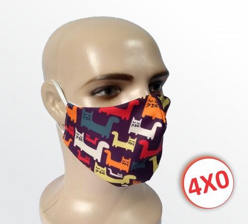 Máscara de Tecido Duplo - 02 a 10 un. - Gatinhos