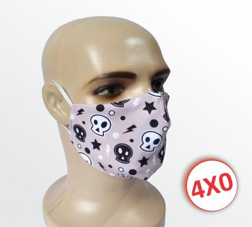 Máscara de Tecido Duplo - 02 a 10 un. - Caveirinhas
