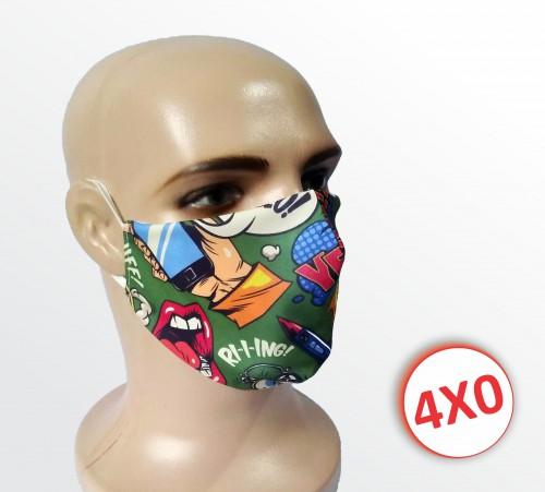 Máscara de Tecido Duplo - Acima de 100 un. - Pop Art Verde
