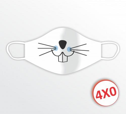 Máscara de Tecido Duplo - 02 a 10 unidades - Coelho